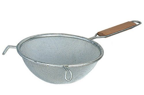 Browne Foodservice 8199 Medium Double Mesh Strainer With Wood Handle, 10-1/4-Inch