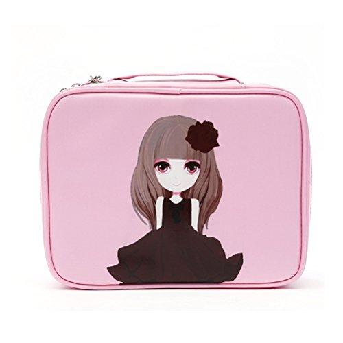 Pixnor Donne viaggi Pockettrip Clear trucco cosmetici borsa da toilette Travel Kit organizzatore, rosa