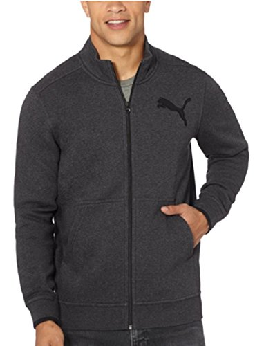 PUMA MENS FULL ZIP LOGO FLEECE TRACK JACKET KANGAROO POCKETS (Large, Dark Grey Heather)