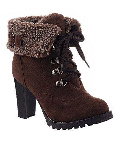 Minetom Donna Inverno Stivaletti Tacco Alto Stivali Stringate Scarpe Martin Boots Stivali Corti Marrone EU 39