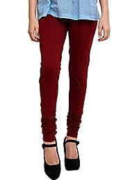 Uzee Women's Cotton Leggings(OO10_Maroon_Free Size)