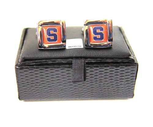 NCAA Syracuse Orangemen Square Cufflinks With Square Shape Engraved Logo Design Gift Box Set