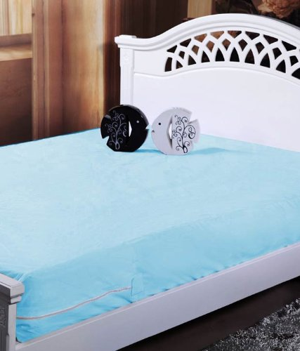 Homefab India Blue Waterproof Mattress Protector (91X189X12 Cm Each) - Set Of 2  available at amazon for Rs.299