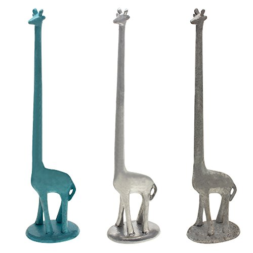 Free Standing Cast Iron Giraffe Decorative Paper Towel Holder Stand | Free Standing Toilet Tissue Holder Storage | For Paper Towels or Toilet Paper (Antique White)