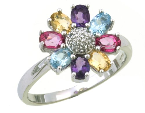 9ct White Gold Ladies' Diamond and Citrine and Amethyst and Blue Topaz and Pink Topaz Ring Size H