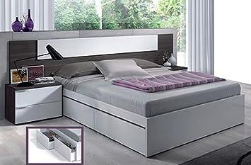 Mobimarket - Cabezales con cama de Matrimonio y 2 mesitas en gris ceniza