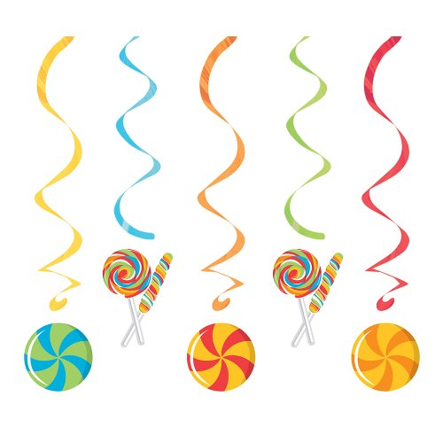 Creative Converting Sugar Buzz Assorted Dizzy Danglers Hanging Party Decorations front-530509