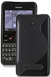 S Design Back Cover Case For Nokia Asha 210 (Black) With Micro USB Data Cable (White)