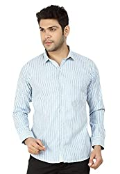Basilio's Blue Colored Semi Formal Shirt For Men-XL