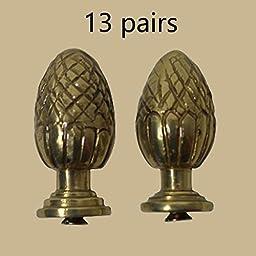 13 Pairs Stair Carpet Rod Finial Brass Pineapple Tip | Renovator\'s Supply