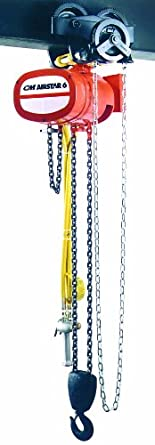 CM 7410A AirStar 6 Spark Resistant Air Hoist with Pendant Throttle Control and Hook Suspension, 4000 lbs Capacity, 10' Lift Height, 5 fpm Lift Speed, 70 SCFM, 90 psi