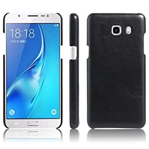 Americhome TM Series Artificial Leather Back Cover For Samsung J7 prime (Black)