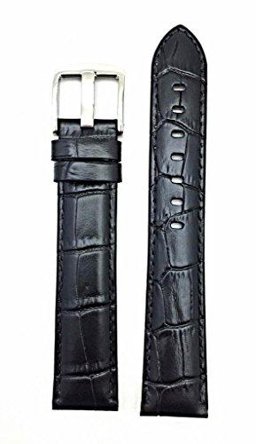 Newlife Black Long, Medium Padded, Square Croco Grain 20Mm