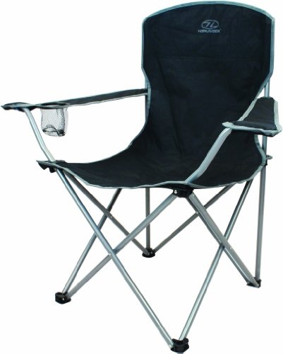 Highlander Traquair Folding Chair - Silla de camping, color negro