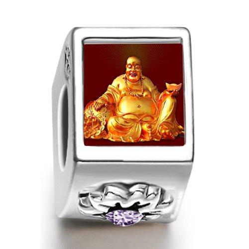 Soufeel Religion Huge Buddha Figure February birthstone Photo Flower European Charm Bead Bracelets