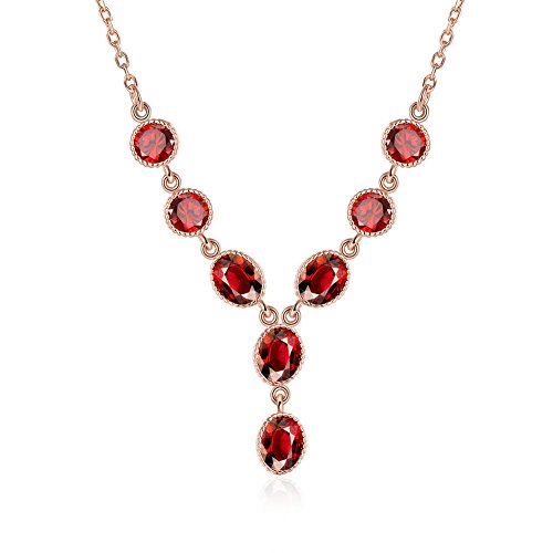 SDLM Fahion Rose Gold Chain Oval-cut Ruby Y Pendant Necklace Wedding Party