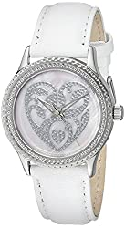 """The P.S. Collection by Arjang and Co. Women's PS-1006S-WH """"Pink Wedding Hearts"""" Mother Of Pearl Dial White Leather Strap Watch"""