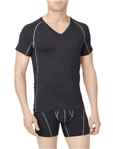 Calvin Klein Men'S Athletic Short Sleeve V-Neck, Black, Medium