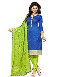 STYLE N DEAL Women's Jute Silk Unstitchced Dress Material (250D5001_Blue_Free Size )