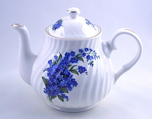 Crown Trent of England - Fine English Bone China Teapot - Forget-Me-Not Swirl Chintz