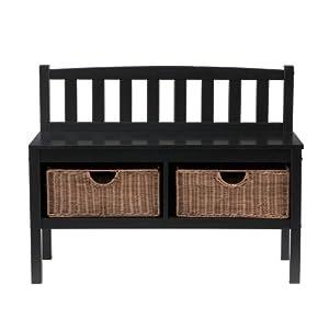 Amazon Com Sei Black Bench With Two Brown Rattan Baskets