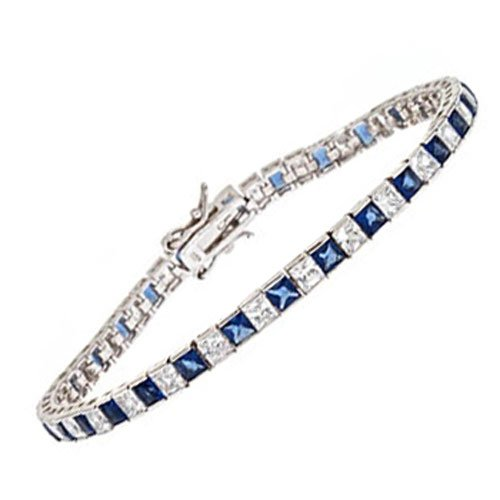 1X1 C.Z. And Sapphire Prince Cut (.925) Sterling Silver Bracelet (Nice Holiday Gift, Special Black Firday Sale)