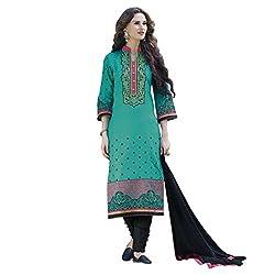 Bhelpuri Women Turquoise Cotton Dress Material