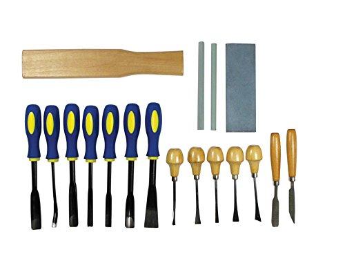 SE 7718WC 18-Piece Professional Quality Wood Carving Chisel Set