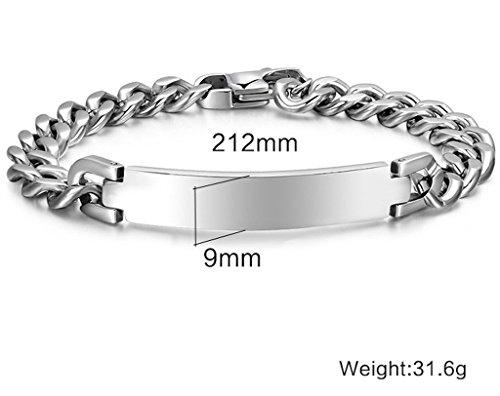 AMDXD-Bijoux-Acier-Inoxydable-Pour-des-Hommes-Chane-Gourmette-Bracelet-Wristband-Argent-Haute-finition-polie-9212mmBracelet-Lettrage