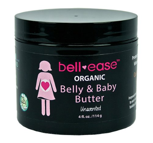 Bamboobies Bell-ease Organic Belly & Baby Butter - Reduce Stretch Marks and Itching - Reduces Cradle Cap and Rashes - Unscented
