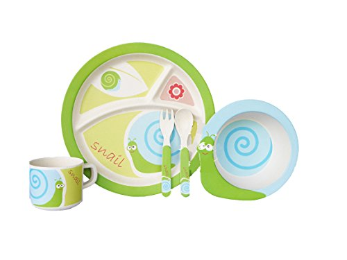 Bamboo Fiber Funny Kids Set Turbo Snail Bpa Free, Non-Toxic [Free Baby Meal Organic Supplement]