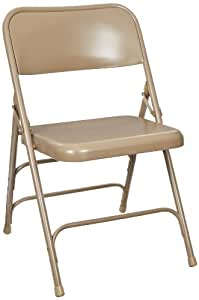 National Public Seating 300 Series All Steel Premium Folding Chair with Triple Brace, 480 lbs Capacity, Beige (Carton of 4)