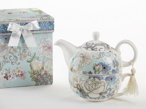 Delton Products Blue Camellia Pattern Porcelain Tea for One Tea Pot (Teapots For One compare prices)