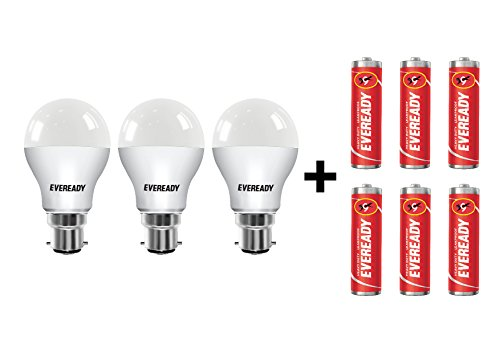 Eveready 9W B22 LED Bulb (Cool Day Light, Pack Of 3) With Free 6 Batteries