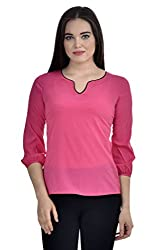 Femninora Pink Color Casual Top With Black Neck Piping
