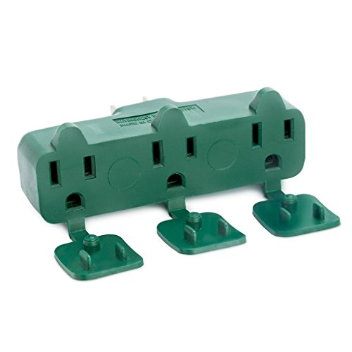 3 Way ( Straight Shaped ) with Plug Locations On The left, Right, and Middle - Wall Outlet Splitter Triple Prong Wall Plug Adapter- Green Color (Industry Approved UL Listed) - By Katzco (Electric Circuit Timers compare prices)