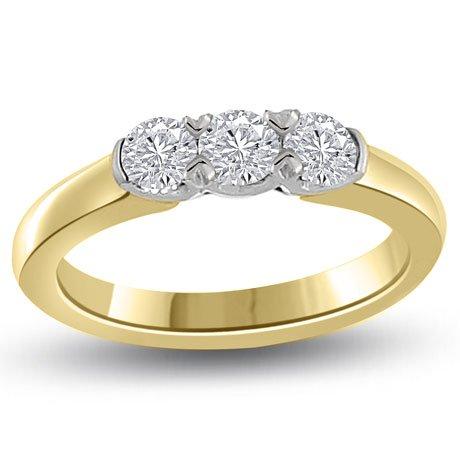 0.60 carat 3 Diamond Trilogy Promise Ring for Women. G/VS1 Round Brilliant Diamond in 18ct Yellow & White Gold