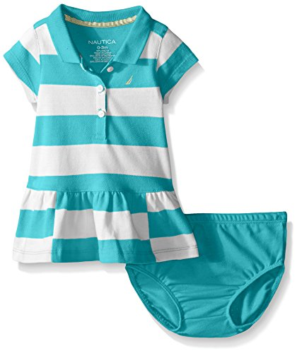 Nautica Baby Pique Dress with Offset Stripes, Light Turquoise, 12 Months