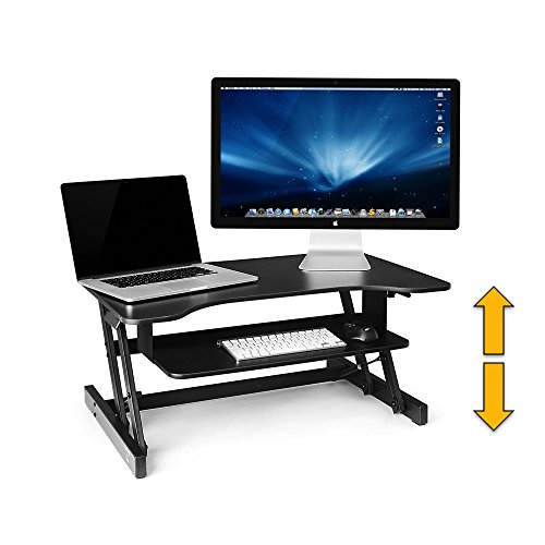 Standing Desk - the DeskRiser - Adjustable Height Sit / Stand Desk, Dual Monitor Desk Converter, Heavy Duty Supports up to 50 Lbs 32