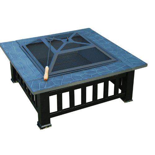 OUTDOOR GARDEN METAL FIREPIT FIRE PIT BRAZIER SQUARE TABLE PATIO HEATER STOVE