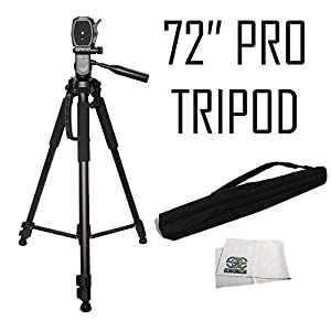 Professional 72-inch Tripod 3-way Panhead Tilt Motion with Built In Bubble Leveling For Canon Rebel EOS-M SL1 T1i T2i T3 T3i T4i T5 T5i XSI XS XTI EOS60D EOS70D 50D 40D 30D EOS5D EOS6D EOS7D EOS5D Mark III Digital SLR Camera