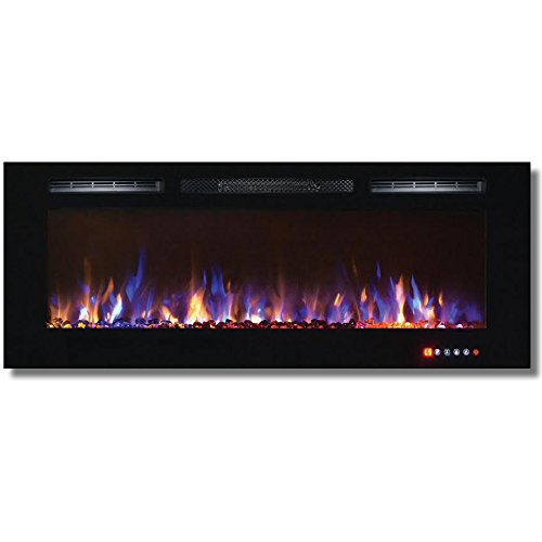 Bombay 50 Inch Crystal Recessed Touch Screen Multi-Color Wall Mounted Electric Fireplace (50 Wall Mounted Fireplace compare prices)