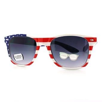 Patriotic Wayfarer Sunglasses American Flag Star Spangled Banner Print Red White Blue