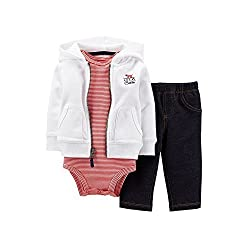 Carters Boys 3 Piece Hoodie, Bodysuit and Faux Denim Pant Set