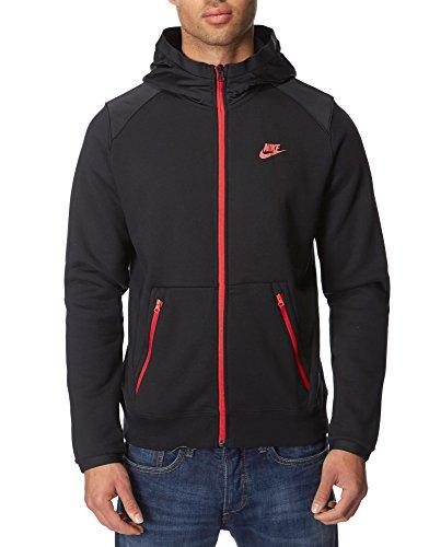 nike-hybrid-fleece-tracksuit-top-hoodie-medium-black-red