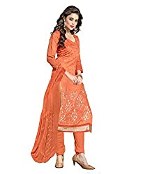 7 Colors Lifestyle Orange Coloured Embroidered Chanderi Unstitched Dress Material