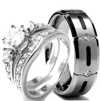 wedding rings set his and hers titanium stainless steel engagement bridal rings set size mens 10 womens 8 - Stainless Steel Wedding Ring Sets