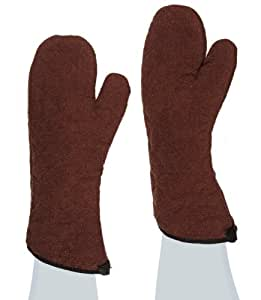 "San Jamar 817TM Heavy Duty Terry Cloth Temperature Protection Oven Mitt, 17"" Length, Brown"
