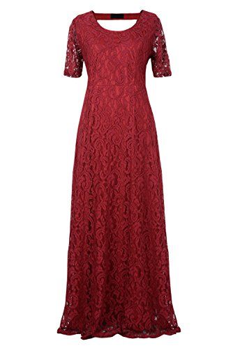 Nemidor® Women's Full Lace Plus Size Wedding Maxi Dress (26W, Wine)