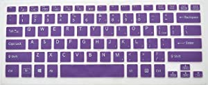 Translucent Silicone Laptop Keyboard Skin Cover Protector For Sony Vaio SVF14A Fit 14E Series SVF14218SC 14217SC 14215SC (Translucent Purple)+ Swan Card Case for Credit, Bank, ID Card from Sony